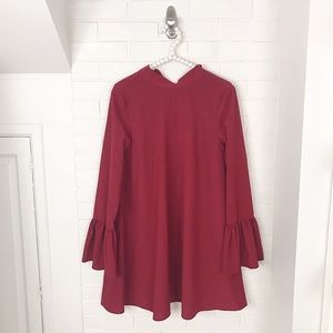 {Lulus} Red Bow Tie Back Loose Fitting Dress
